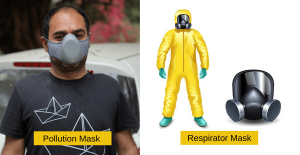 difference pollution masks and respirators masks